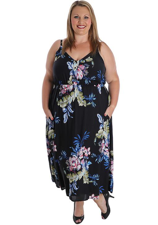 plus size black floral dress