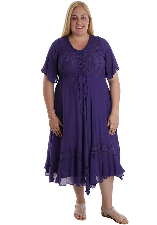 plus size purple lace gyspy dress