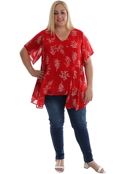 Plus Size Red Wild Flower Top