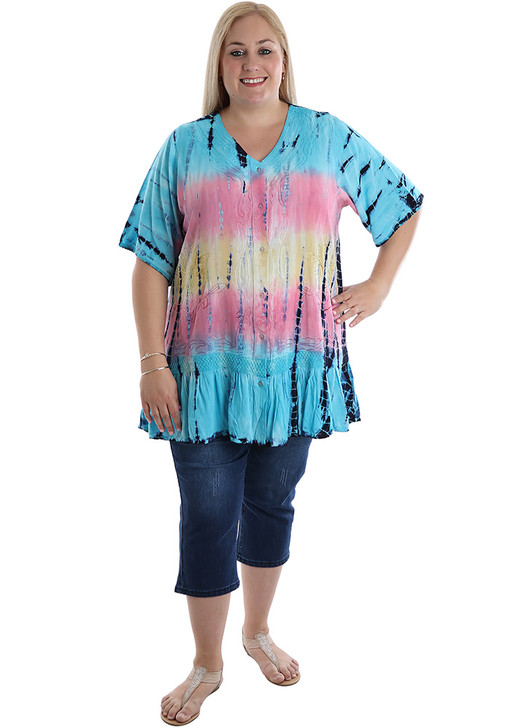 Plus Size Blue pastel Tie dye Top