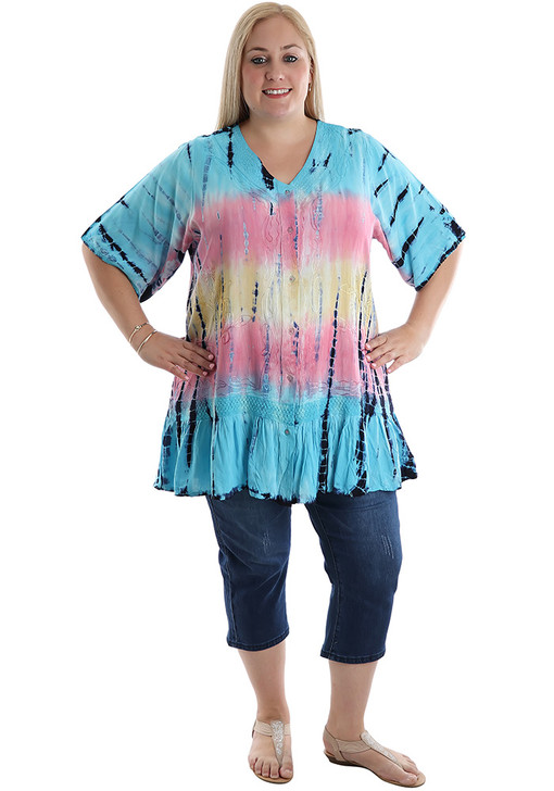 Blue Pastel Embroidery Button Tie Dye Top