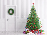 Festive Tree with Pinstripe Wall