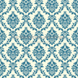 Turquoise and Cream Damask