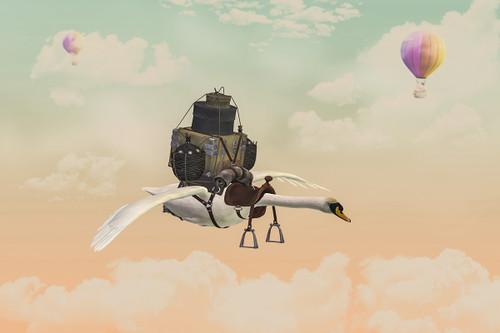 """Flying Swan"" Digital Backdrop"