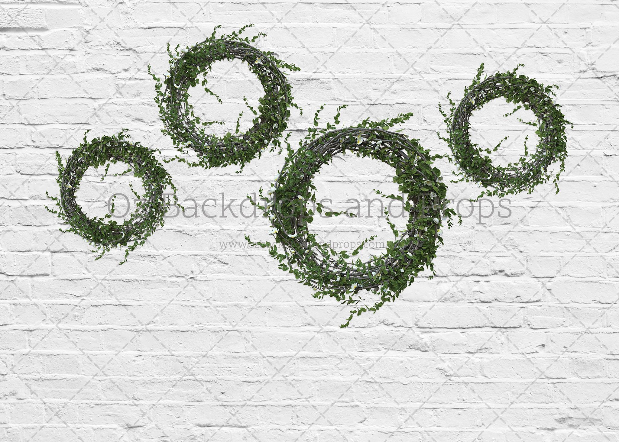 White Brick Four Wreaths - In Stock