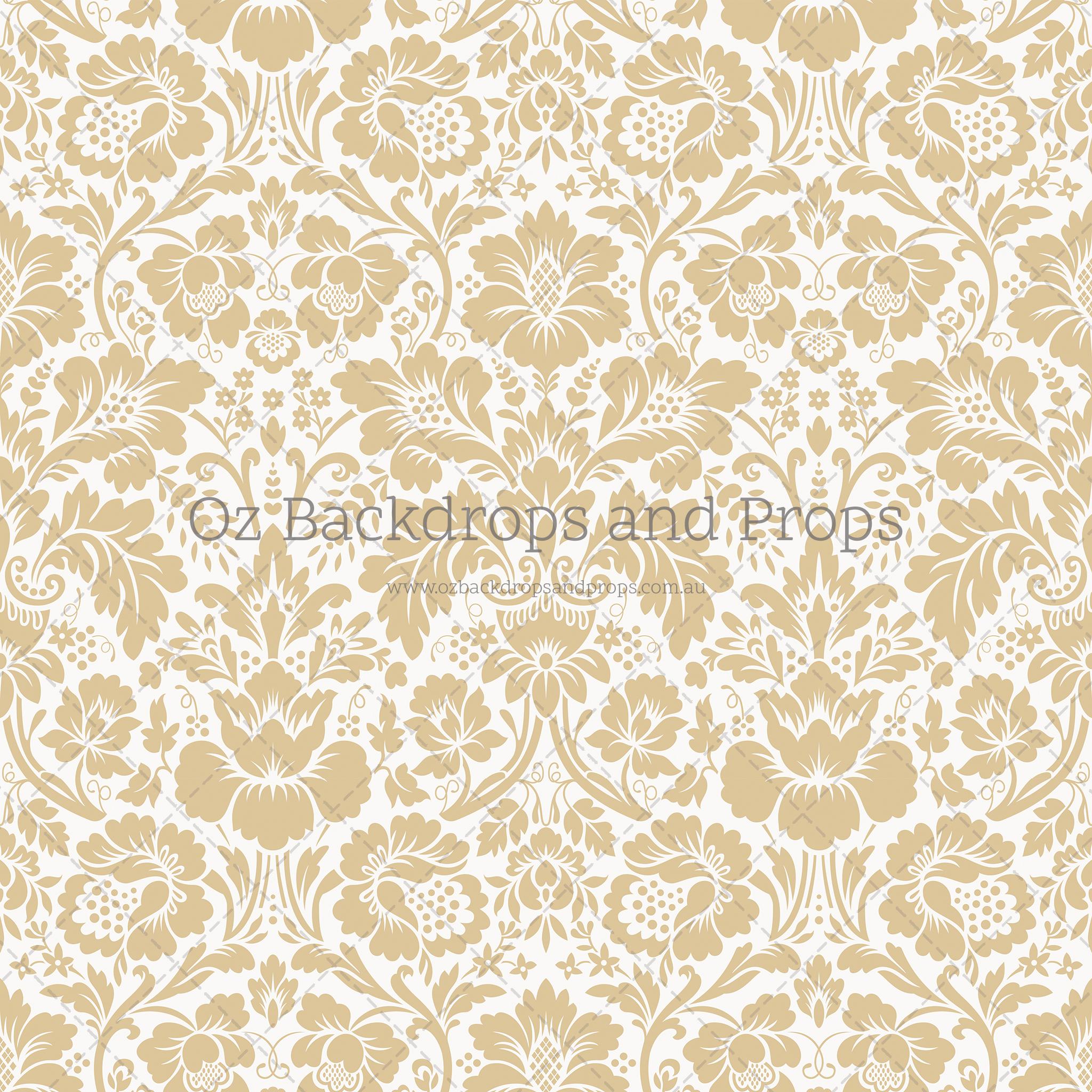 Gold White Damask