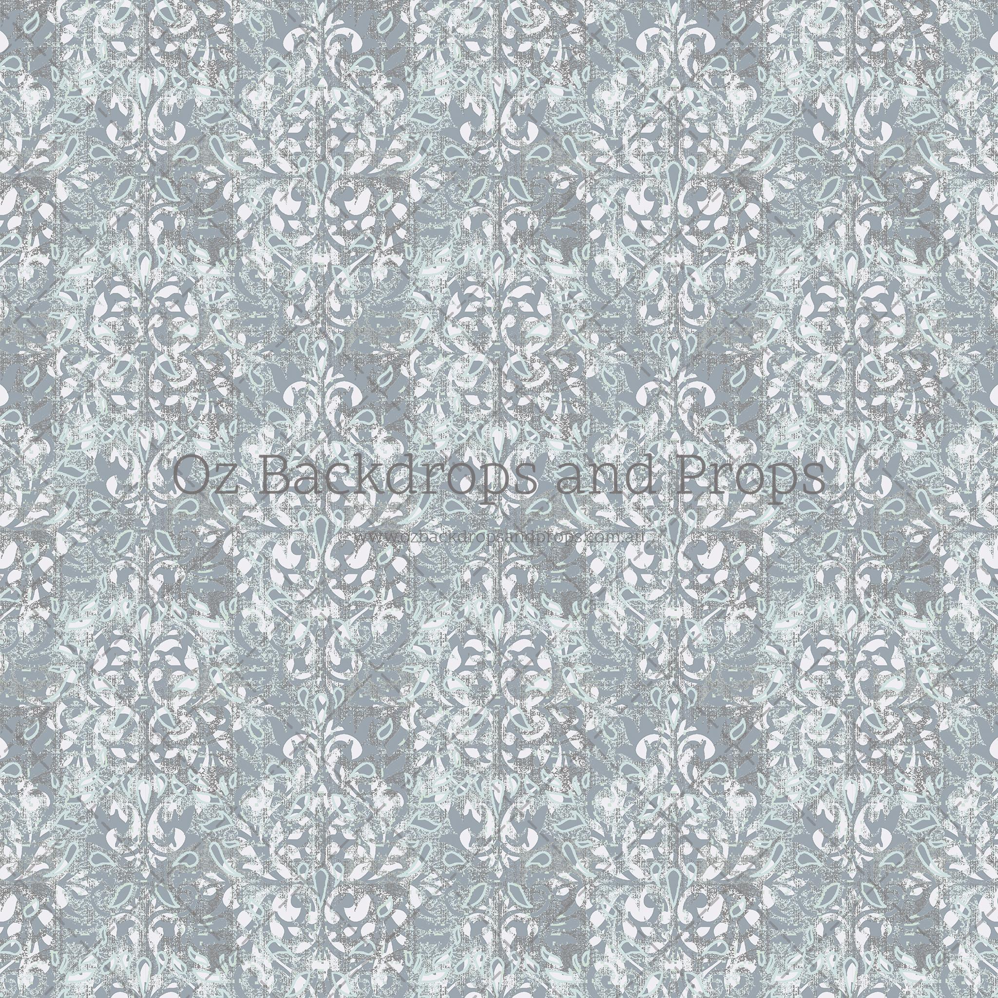 Mint Grey Damask