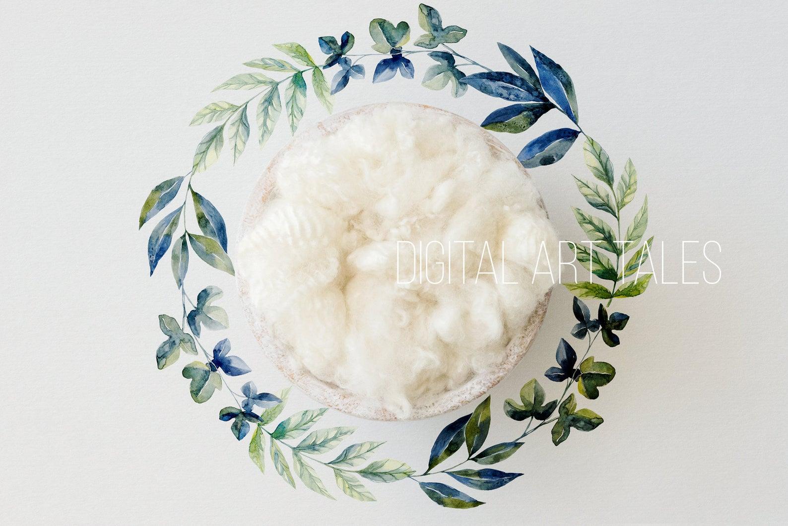 """Blue Watercolour Wreath"" Digital Backdrop"