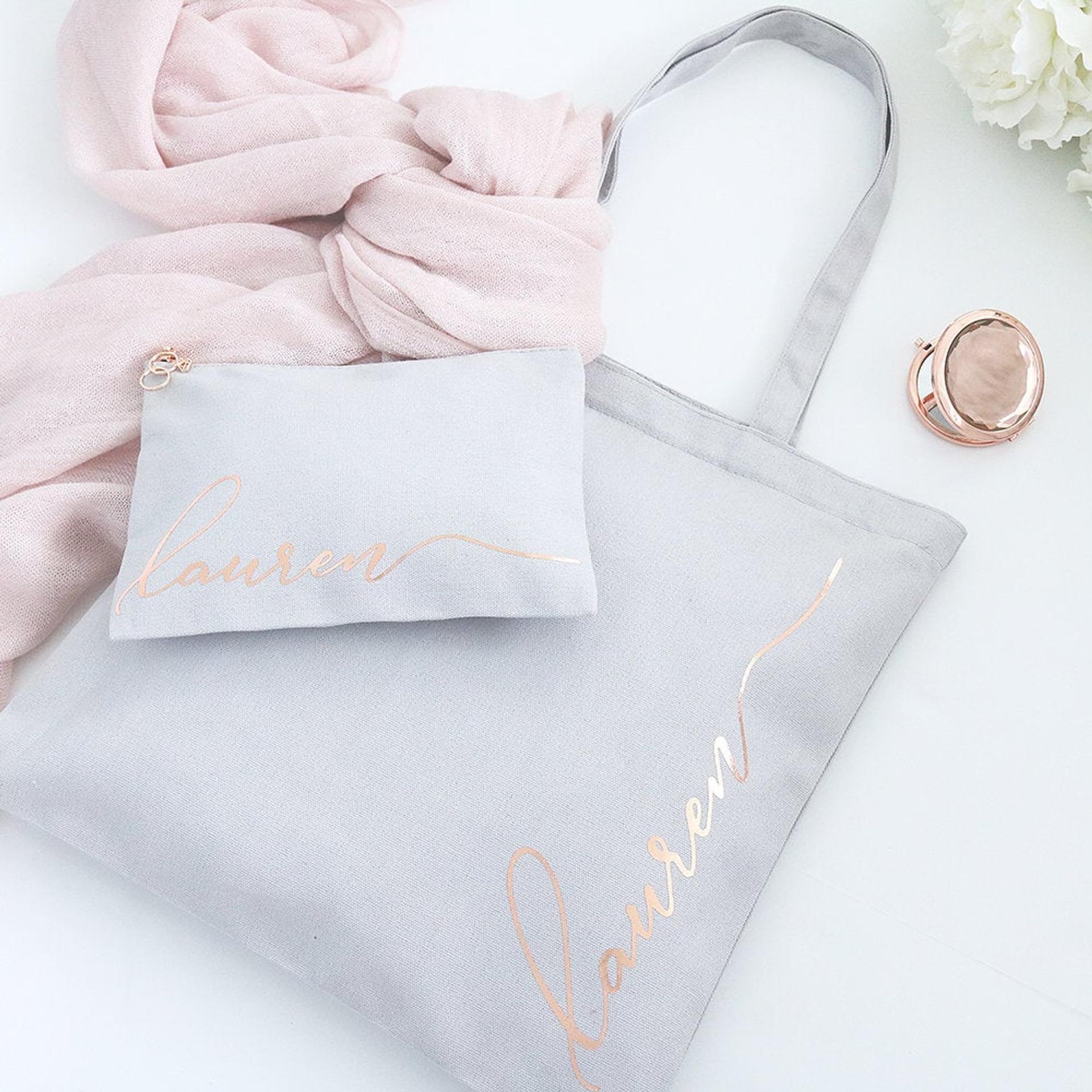 Rose Gold Zipper Tote Bag