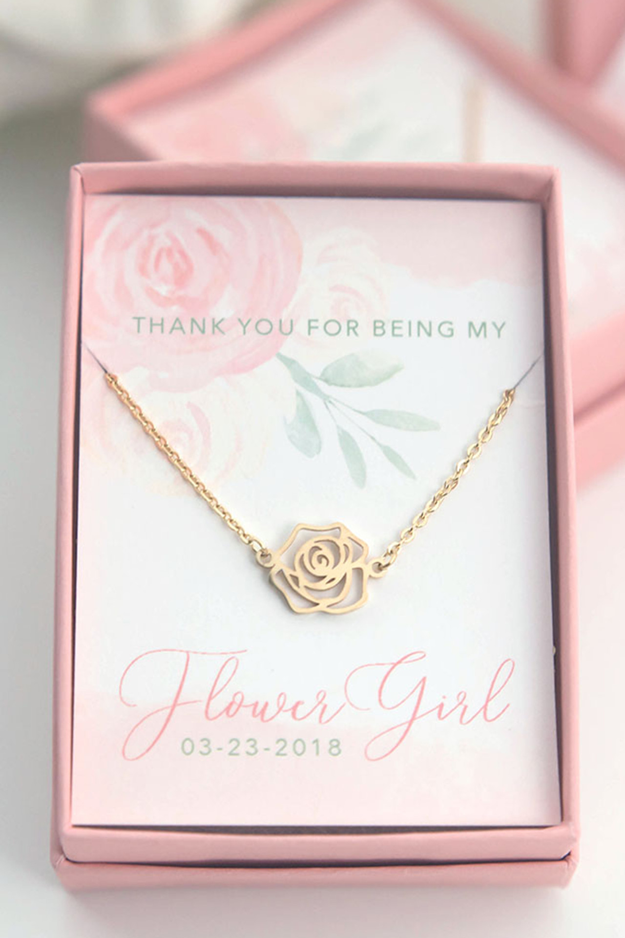 Rose Necklace - Personalized Flower Girl