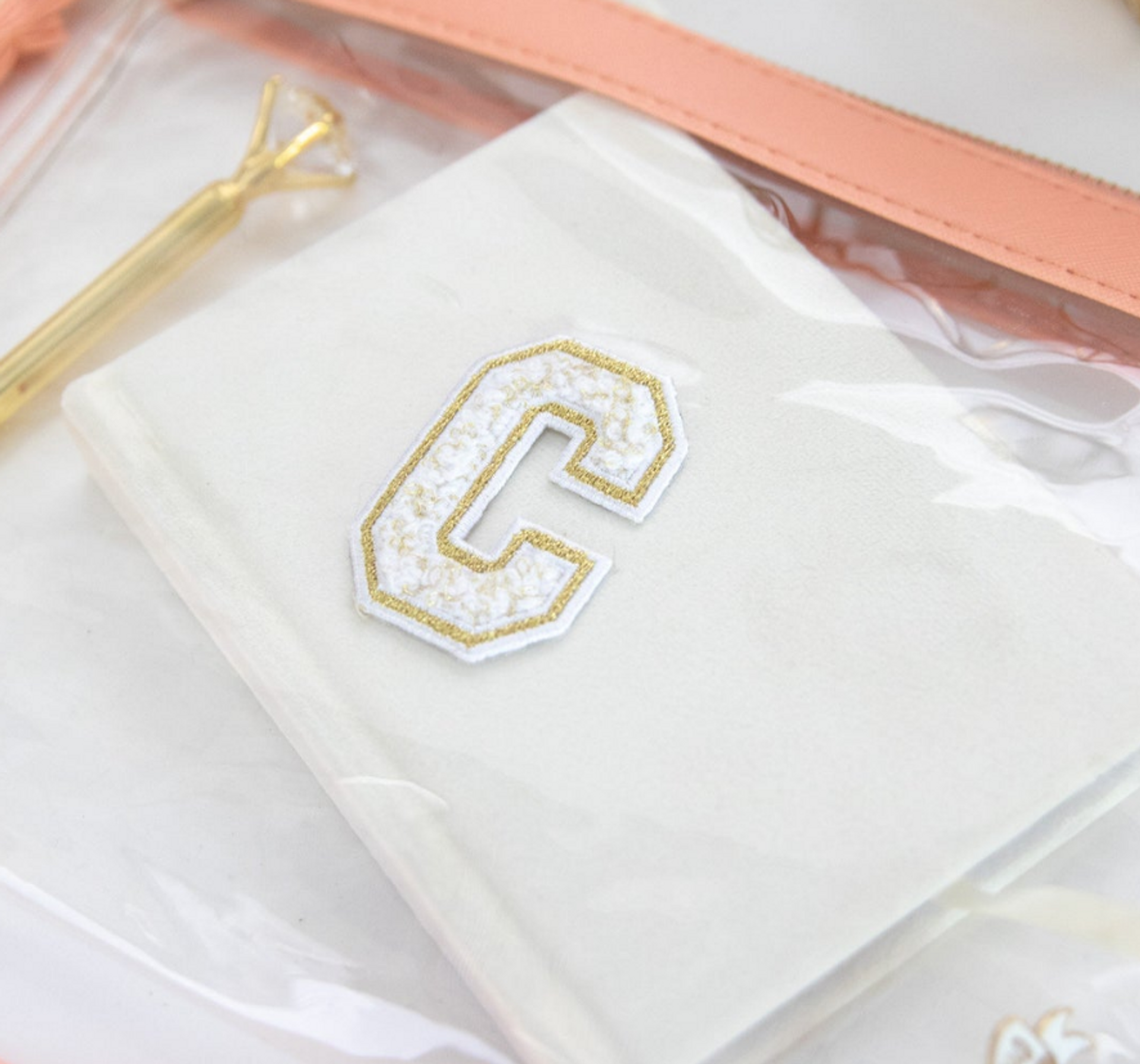 Gold Chenille Varsity Letter Patch ONLY Black or White