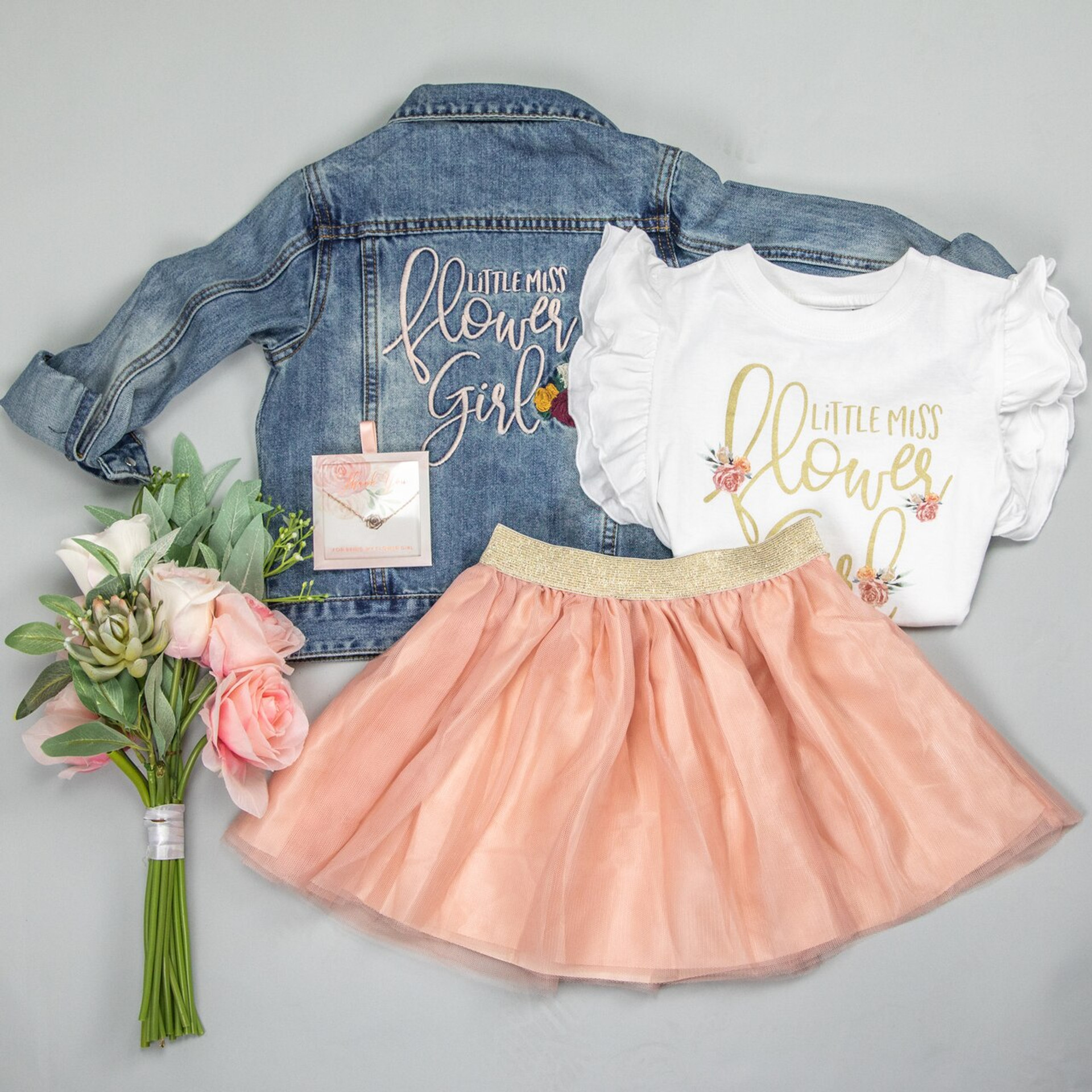 Little Miss Flower Girl Ruffle Tee + Tulle Skirt set