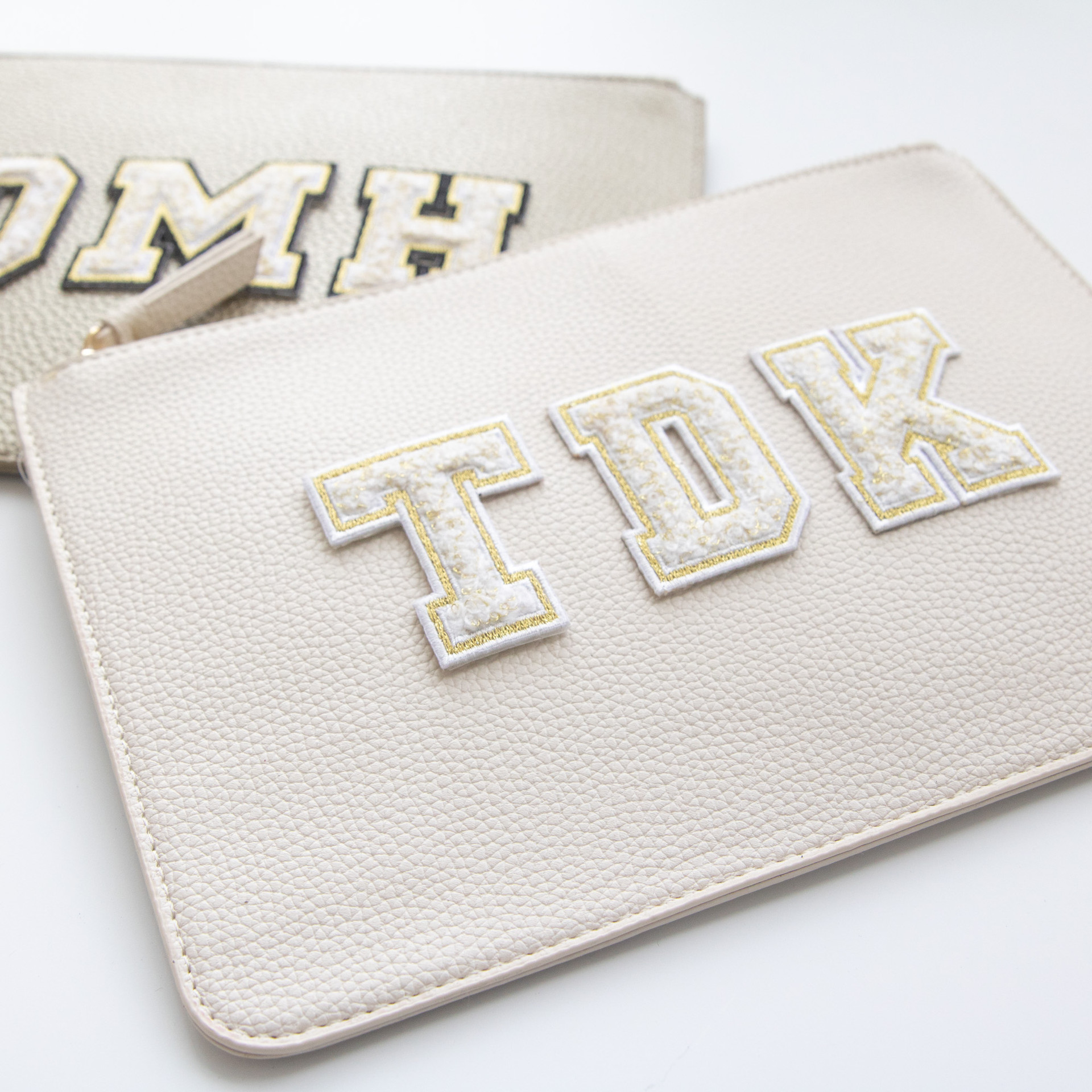Vegan Leather Clutch + Chenille Letter Patches