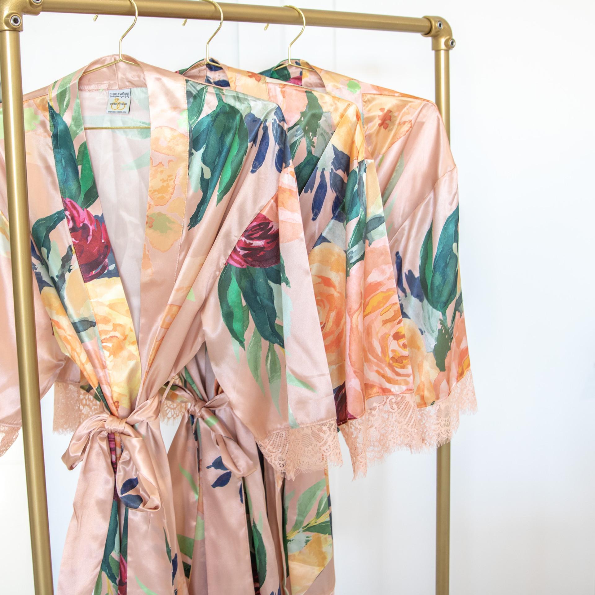 Floral Kimono Satin Wedding Robe
