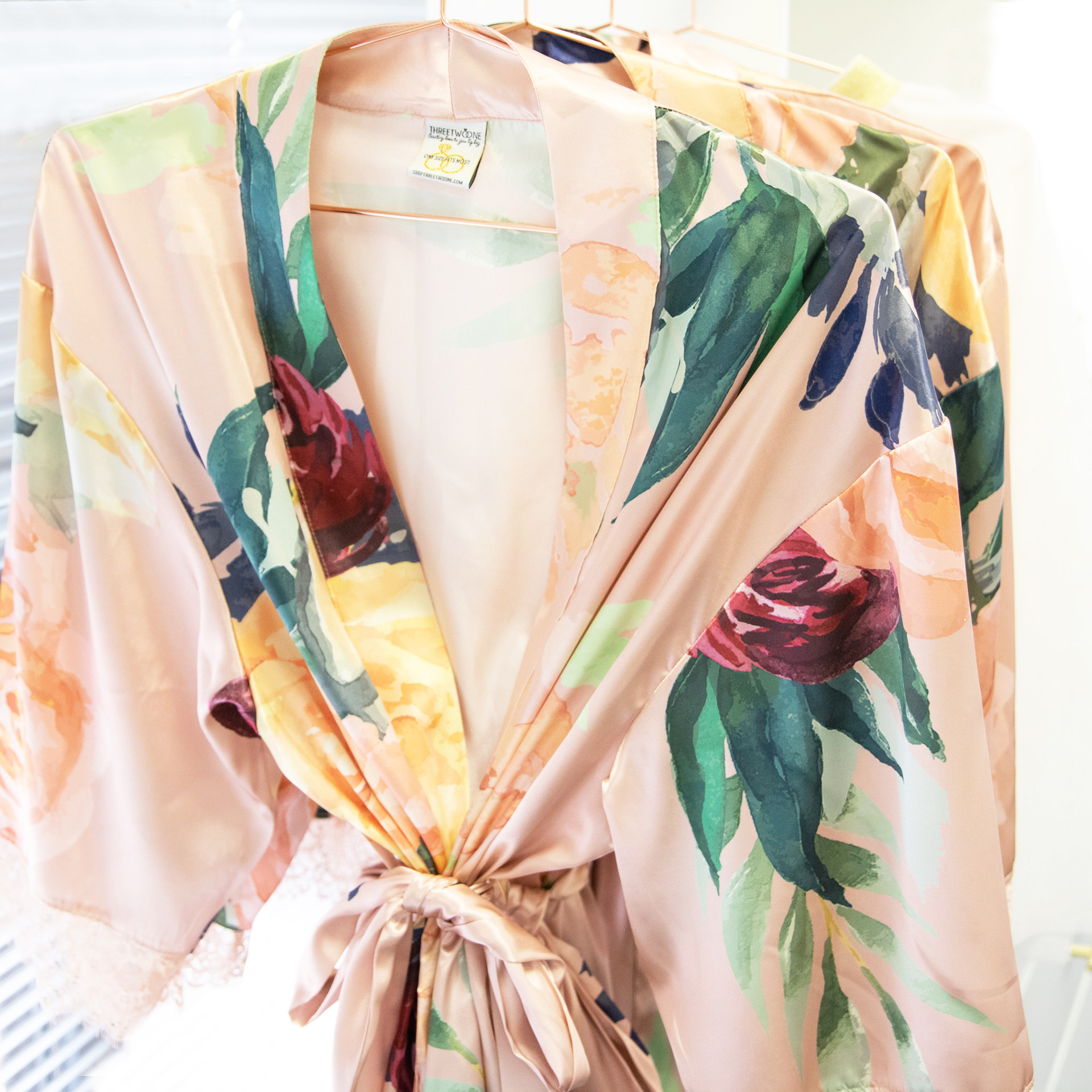 Floral Satin And Lace Robe