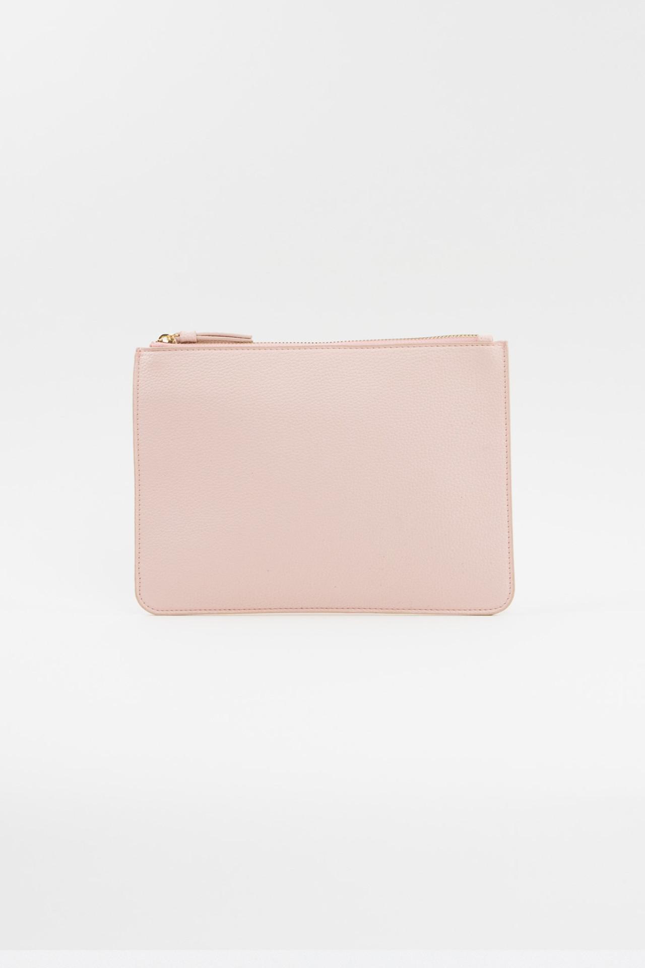 Vegan Leather Clutch - Blush