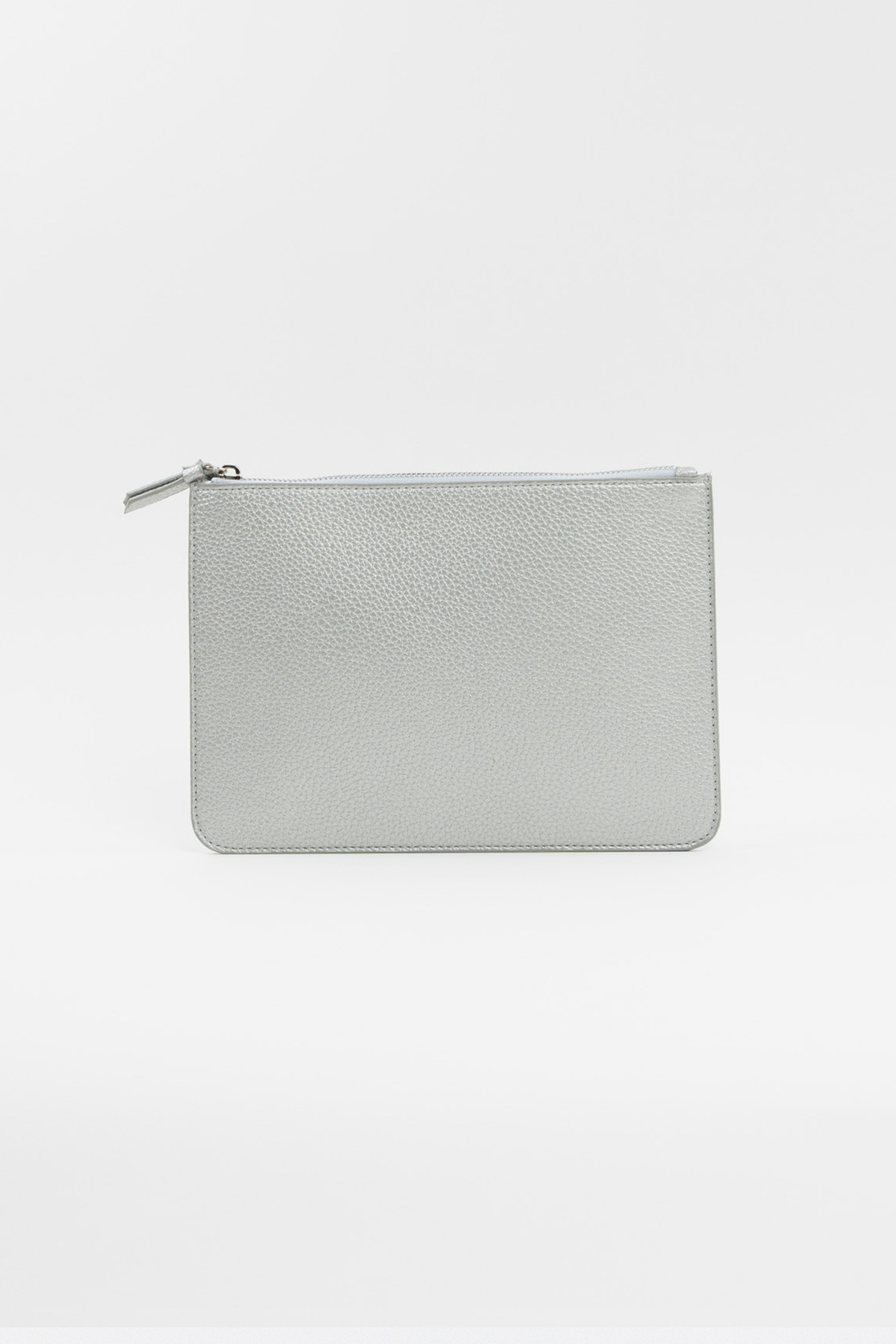 Vegan Leather Clutch - Silver