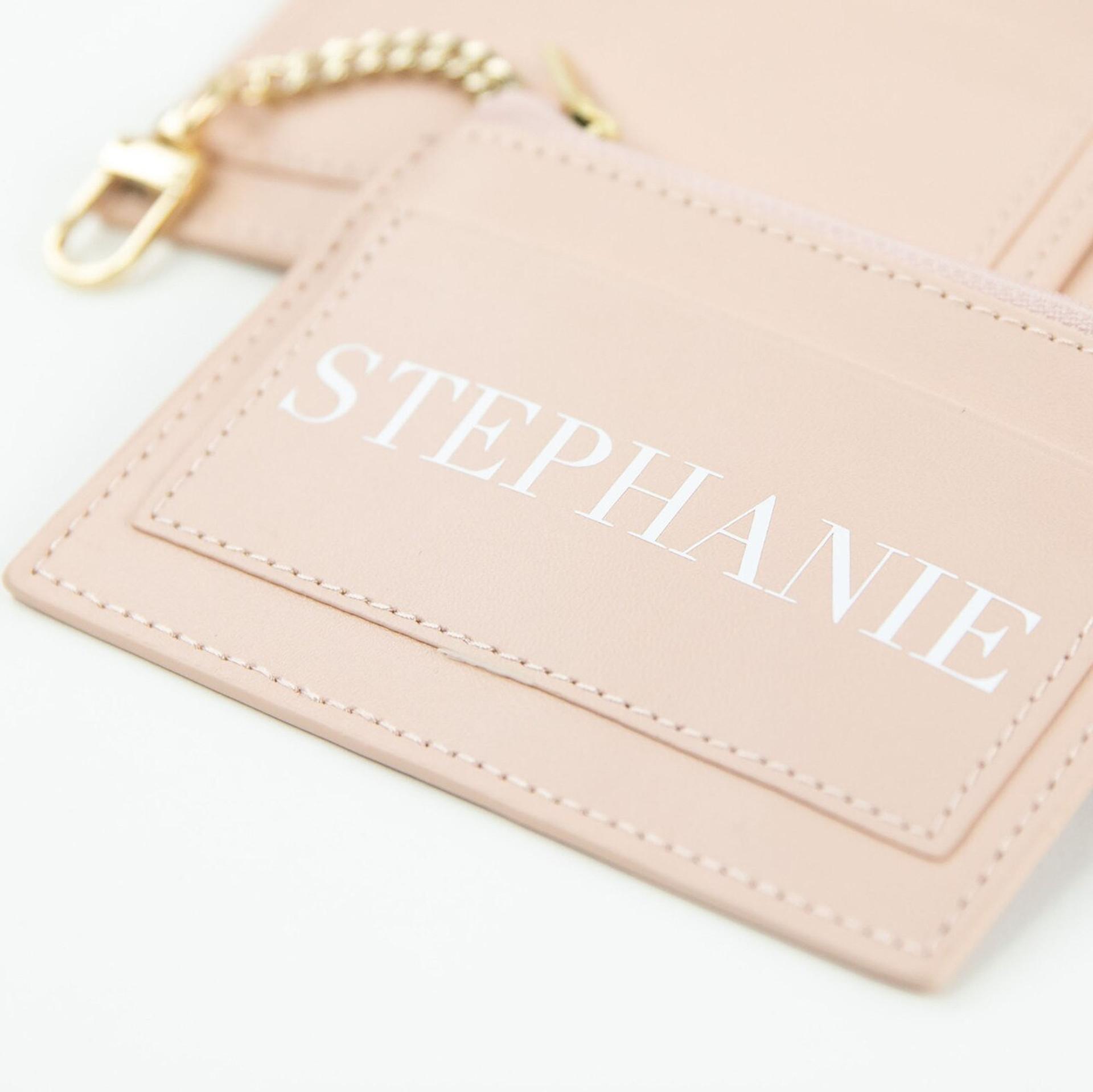 Blush Vegan Leather Credit Card Keychain