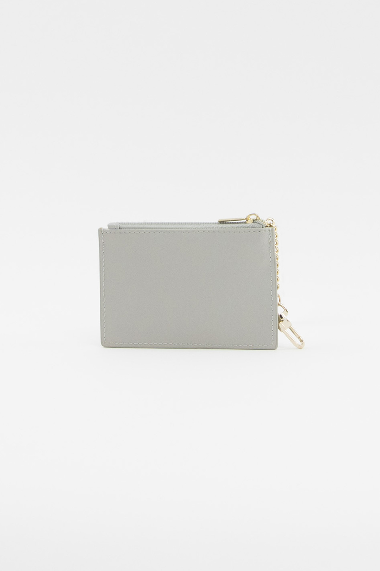 Light Gray Vegan Leather Credit Card Keychain