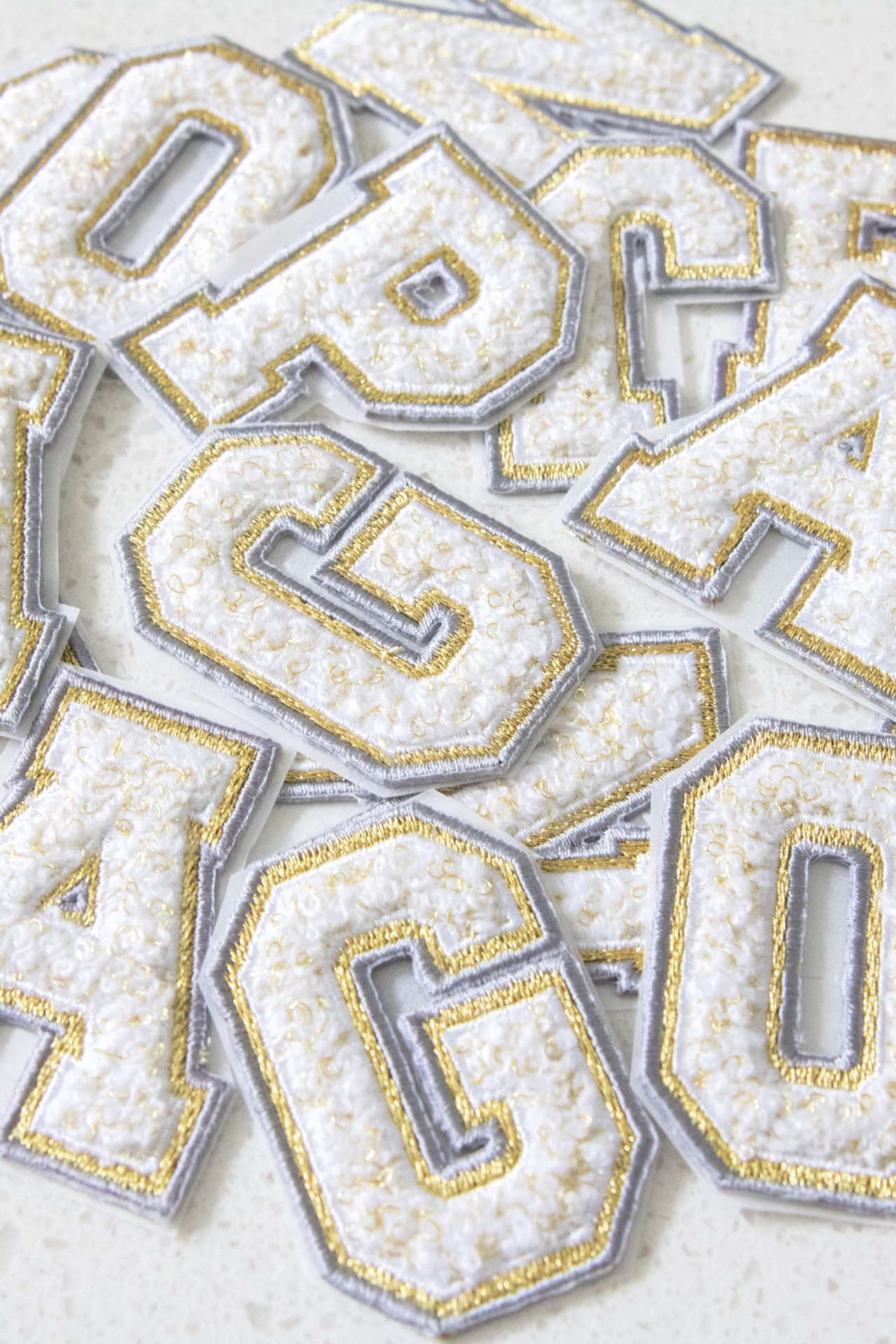Chenille Adhesive Letter Patch - Gray