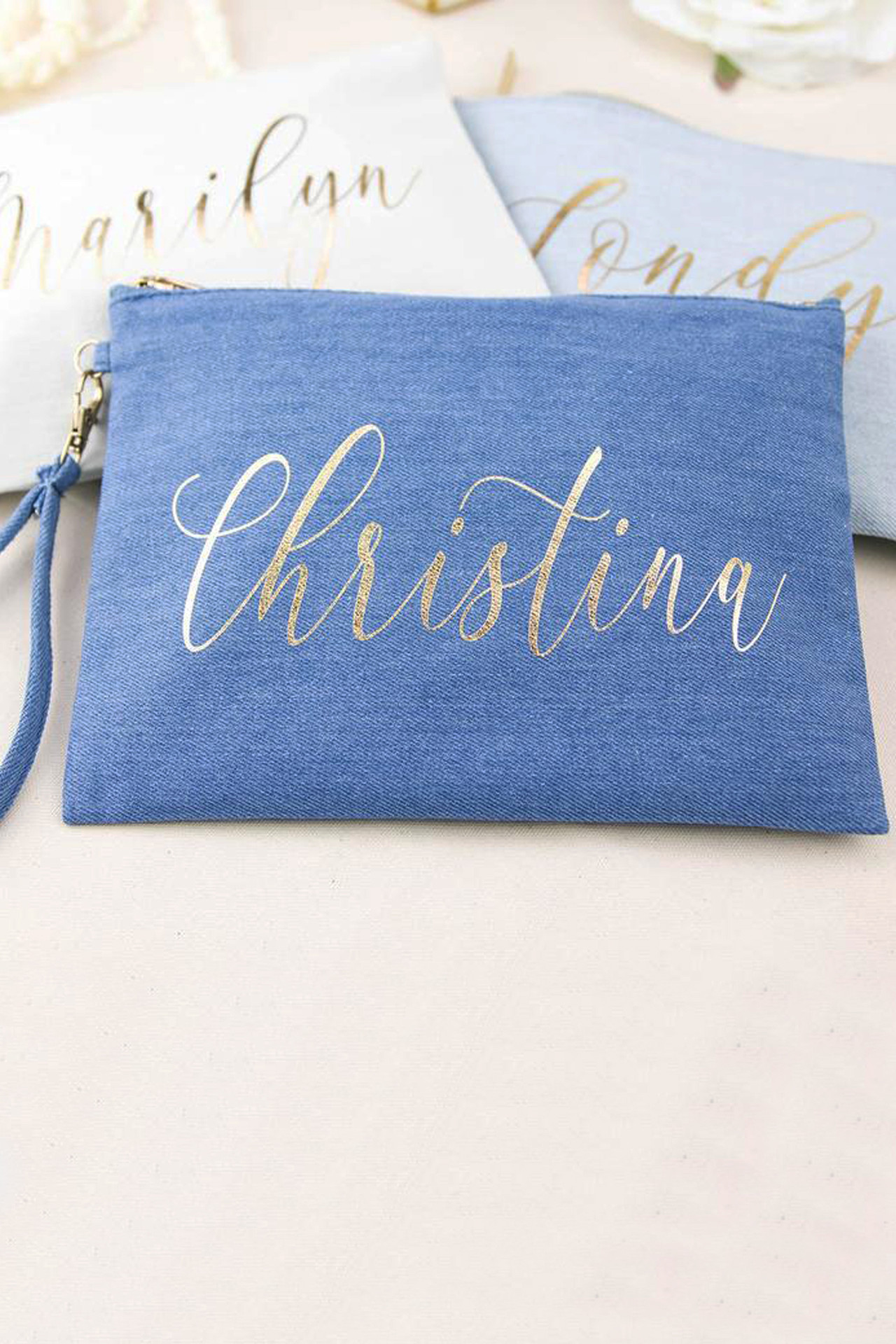 Denim Personalized Monogram Makeup Bag
