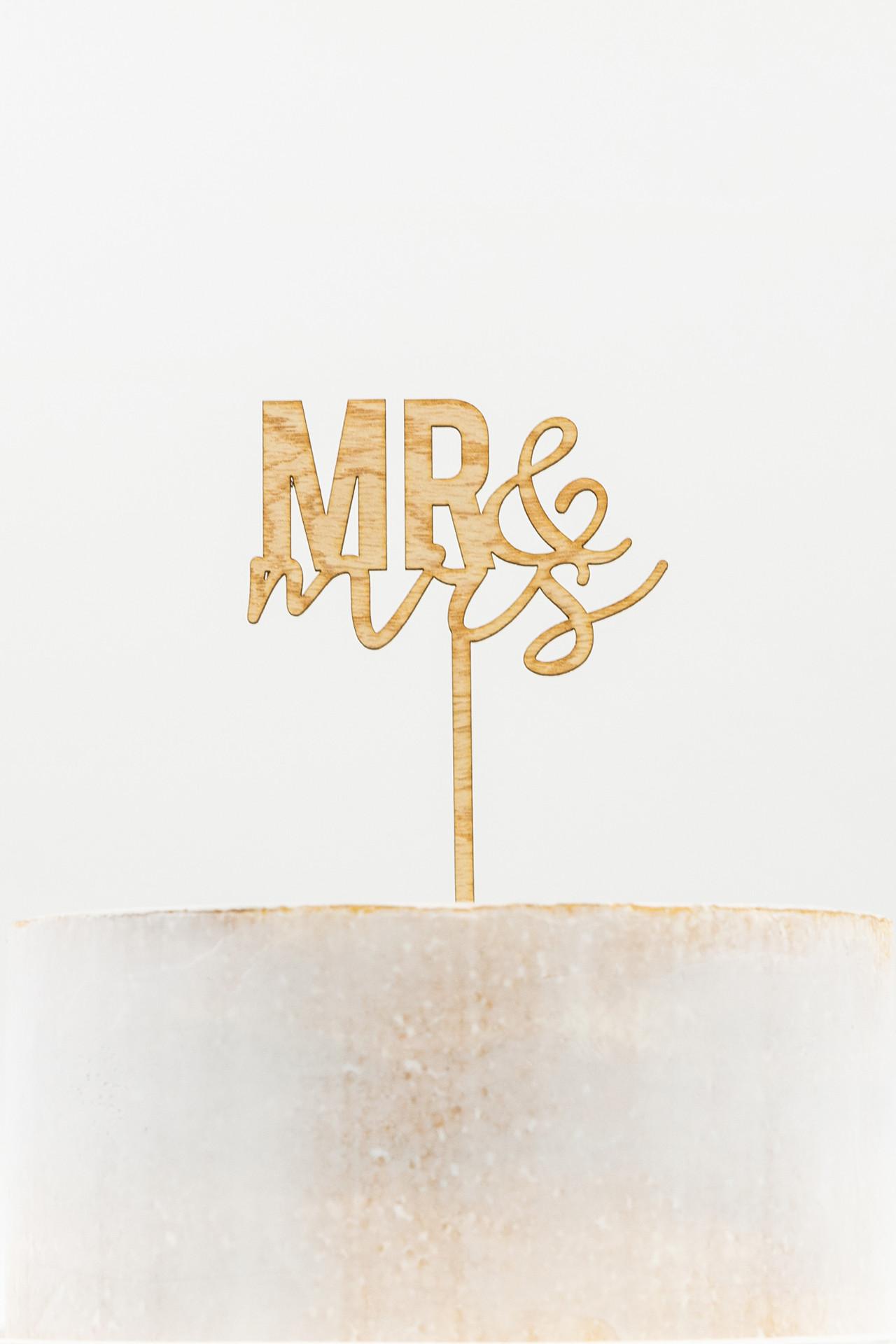 Wooden Cake Topper - Mr & Mrs