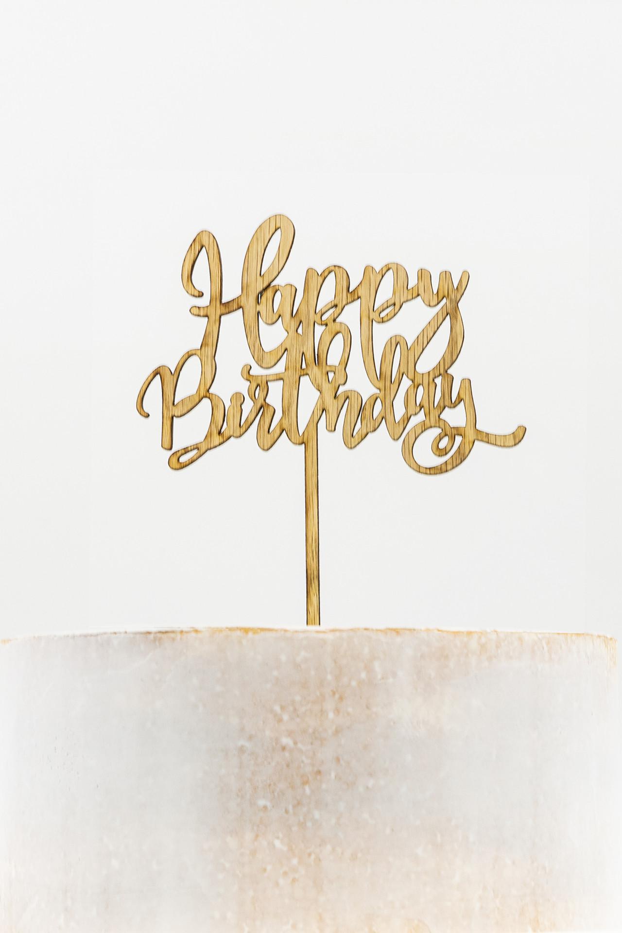 Wooden Cake Topper - Happy Birthday