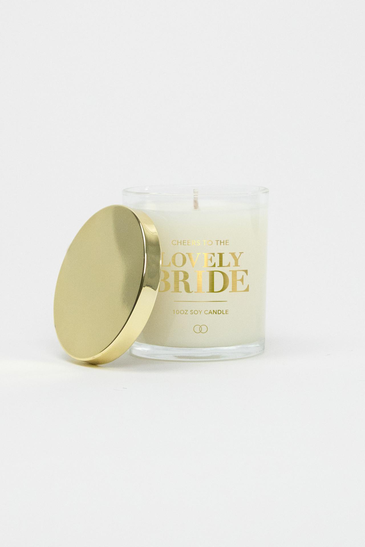 Celebration Glass Soy Candle - Lovely Bride (Gold)