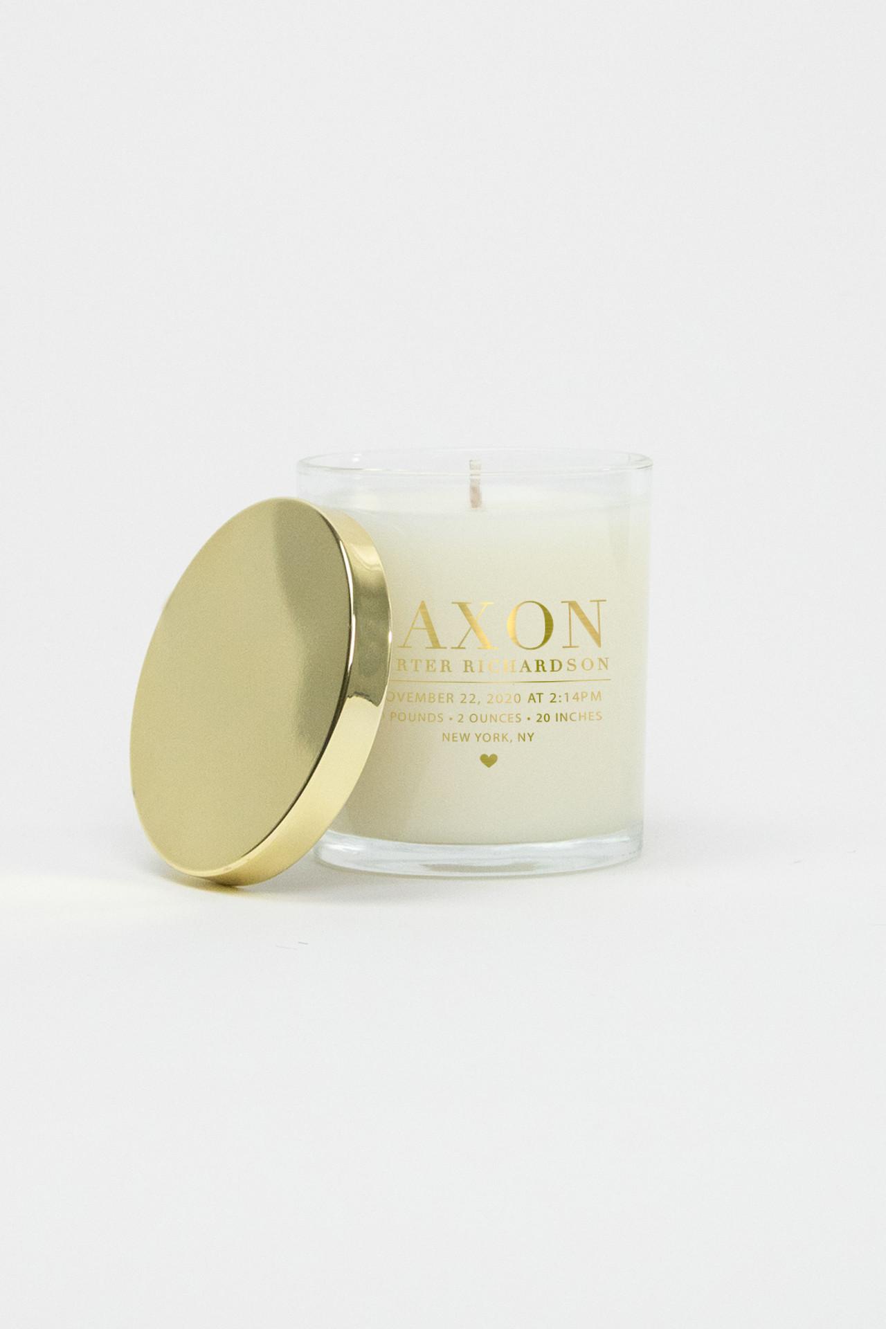 Celebration Glass Soy Candle - Baby Birthstat (Gold)