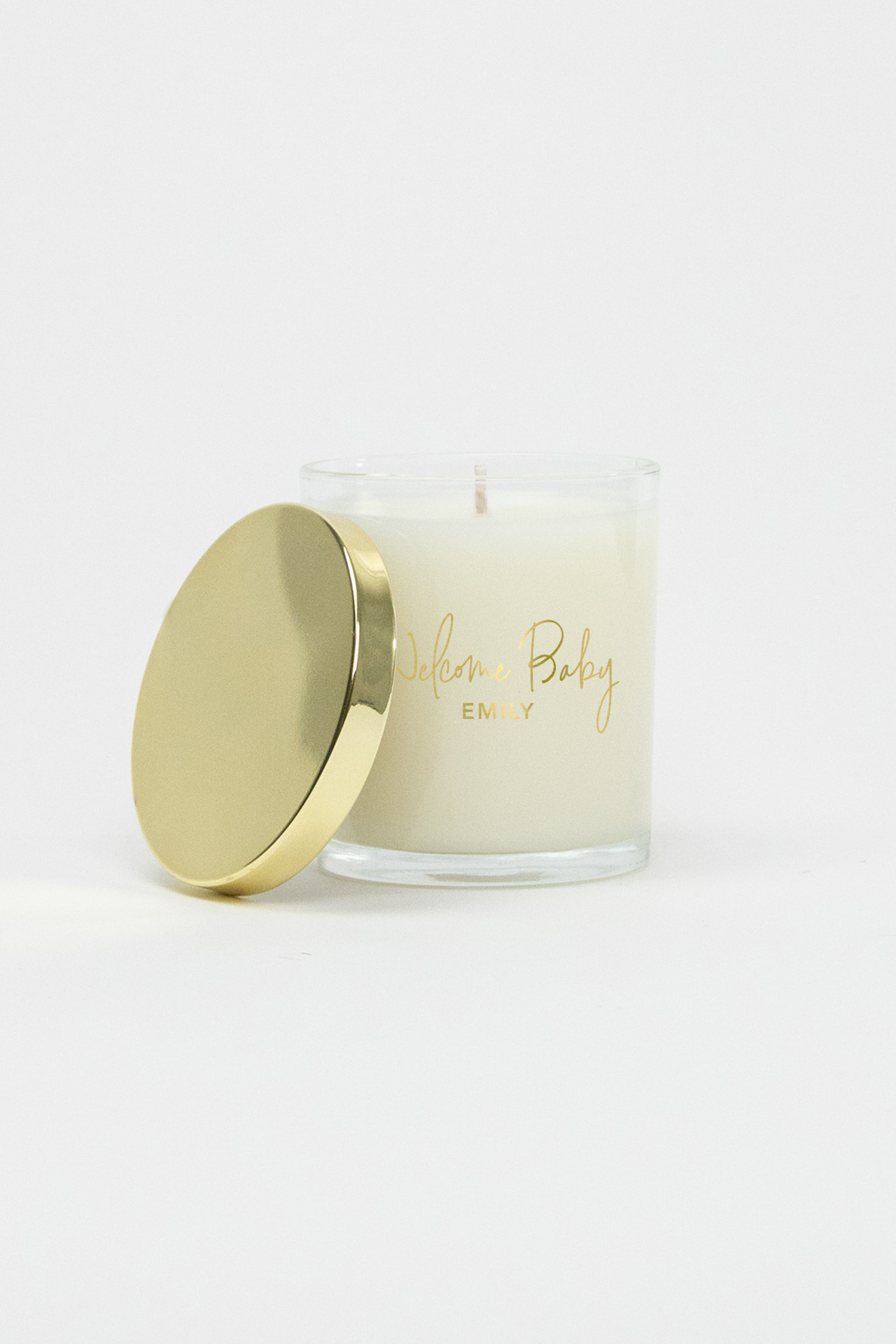 Celebration Glass Soy Candle - Welcome Baby (Gold)