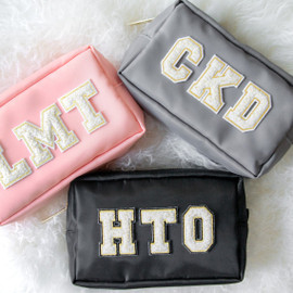 Chenille Personalized Nylon Makeup Bag - 3 Letter