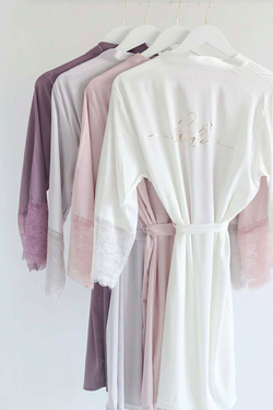 Satin and Lace Bridal Kimono Wedding Robe