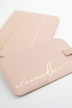 vegan leather luggage tag and passport holder