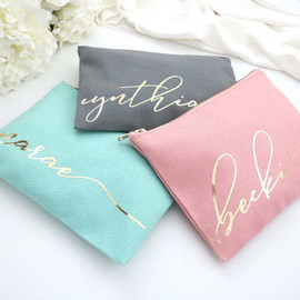 Personalized Monogram Makeup Bag. Custom Cosmetic Bag.