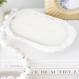 White Rustic Dough Bowl Soy Wax Candle