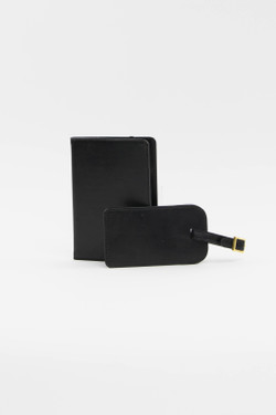 Black Luggage Tag + Passport Holder