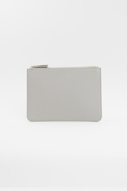 Vegan Leather Clutch - Light Gray