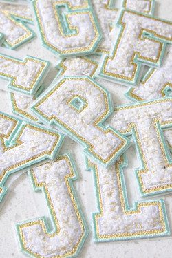 Chenille Adhesive Letter Patch - Teal
