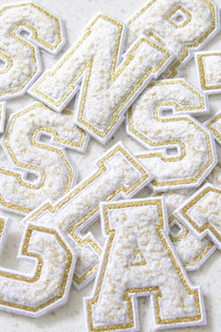 Chenille Adhesive Letter Patch - White