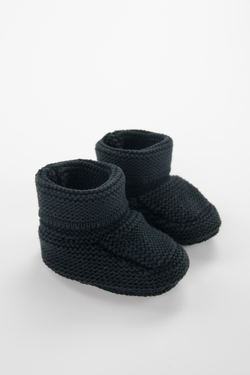 Black Knit Baby Booties