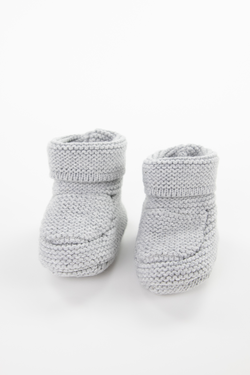 Gray Knit Baby Booties