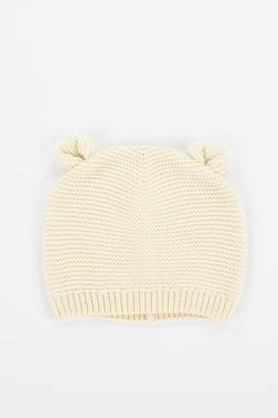 Ivory Knit Baby Bear Beanie