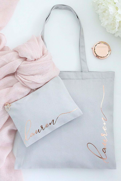 Personalized Rose Gold Monogram Tote Bag