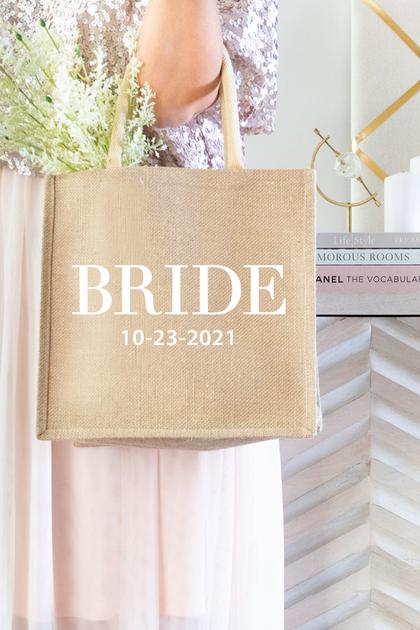 Bride Burlap Tote Bag