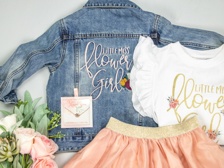 Little Miss Flower Girl Denim Jacket