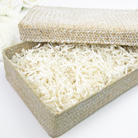 Whitewash Seagrass Keepsake Box with Lid