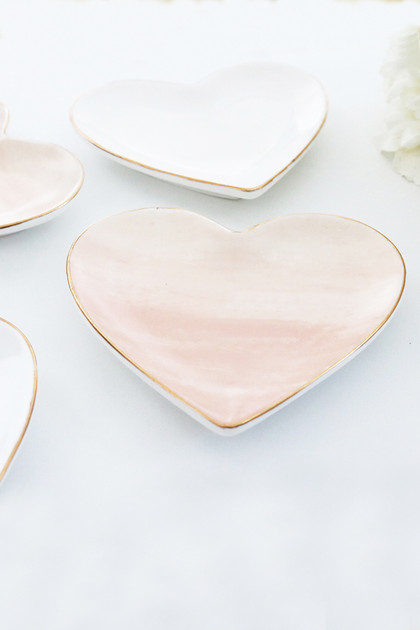 Heart Shaped Catchall Tray - Blush Watercolor
