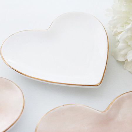 Heart Shaped Catchall Tray - White
