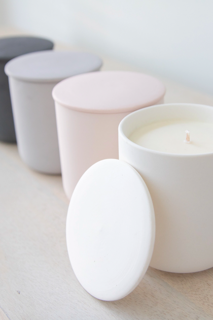Ceramic Candle Vessel with Lid filled with scented soy wax