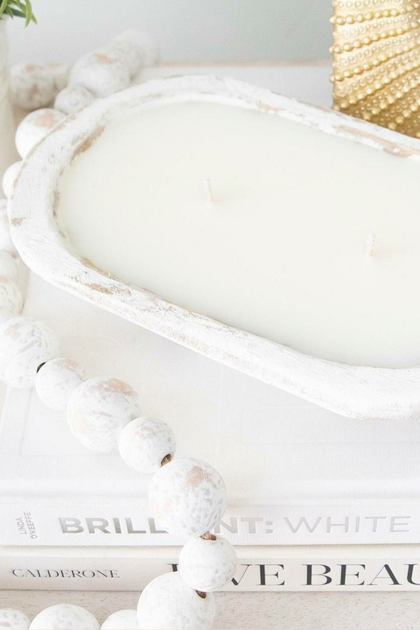 White Rustic Wooden Dough Bowl Soy Candle
